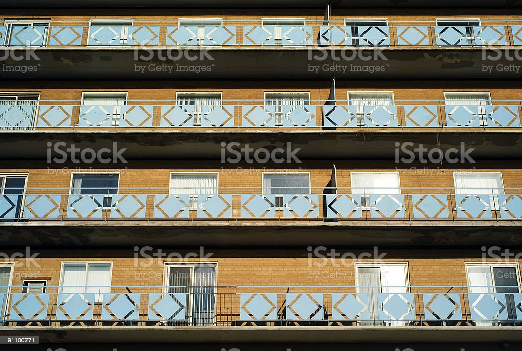Rows of apartments with 60's balconies stock photo