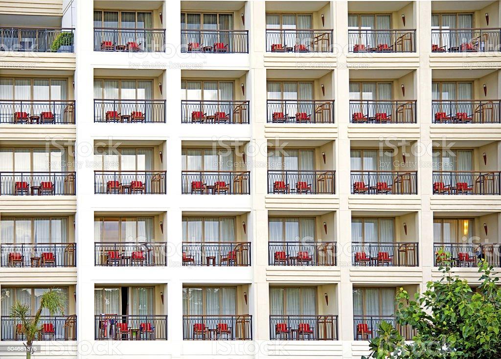 rows of balconies stock photo