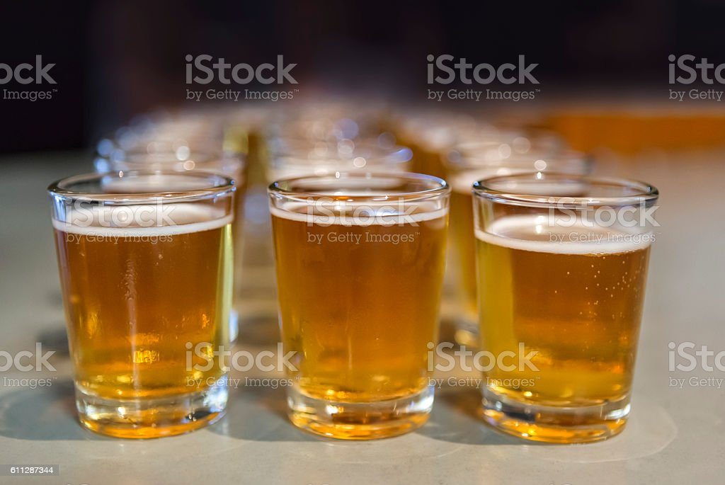 Rows of beer samples for tasting stock photo