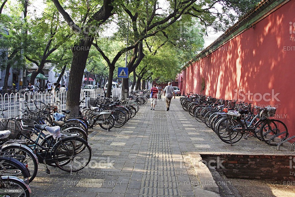 Rows of bicycles, Beijing, China stock photo