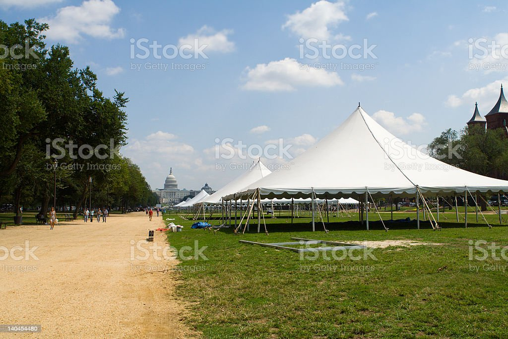 Rows of Big Event Tents Path National Mall Washington, DC stock photo