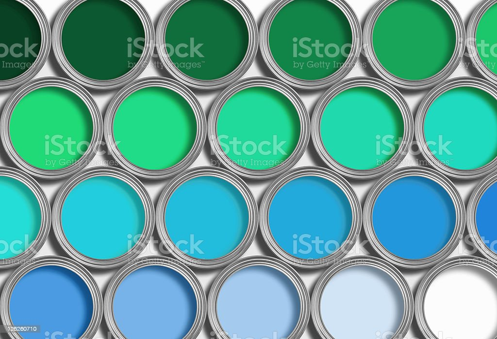 Rows of blue and green open paint tins on white royalty-free stock photo