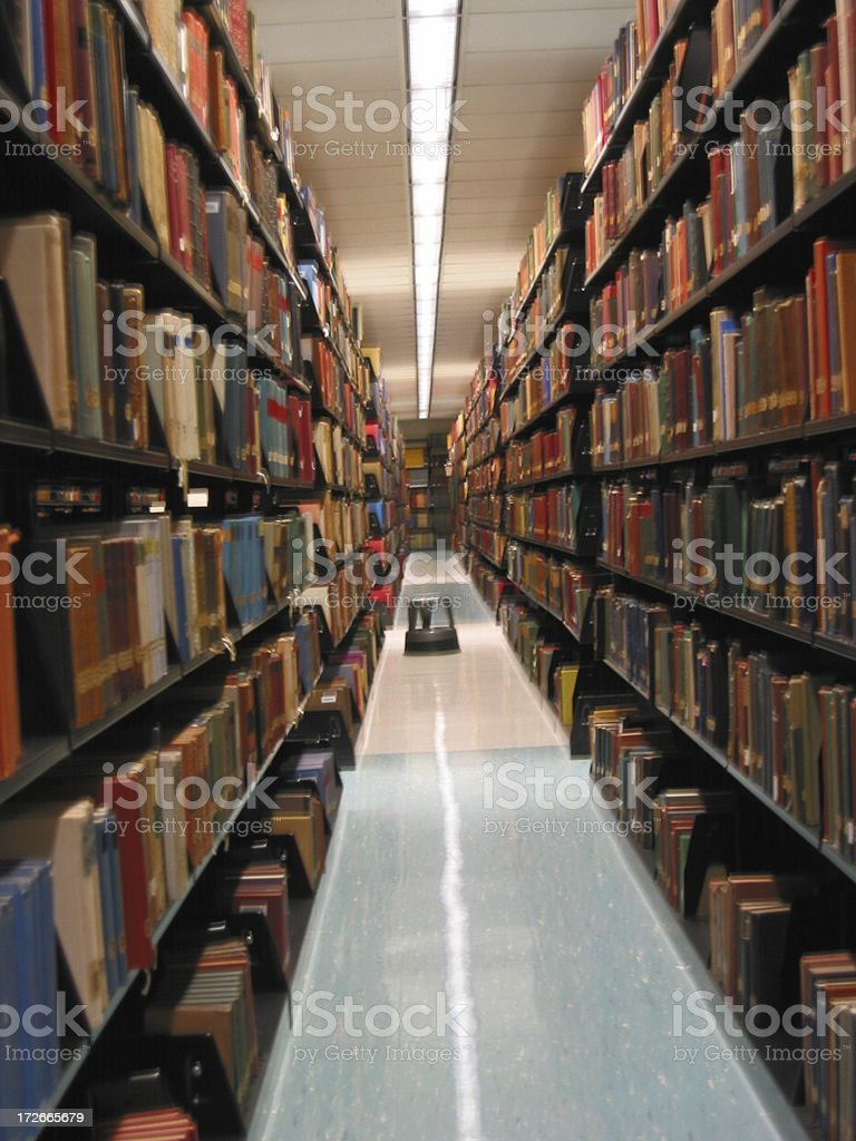 Rows of Books - Long Stack in the Library royalty-free stock photo