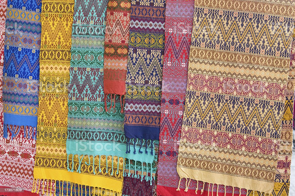Rows of Central American Textiles royalty-free stock photo