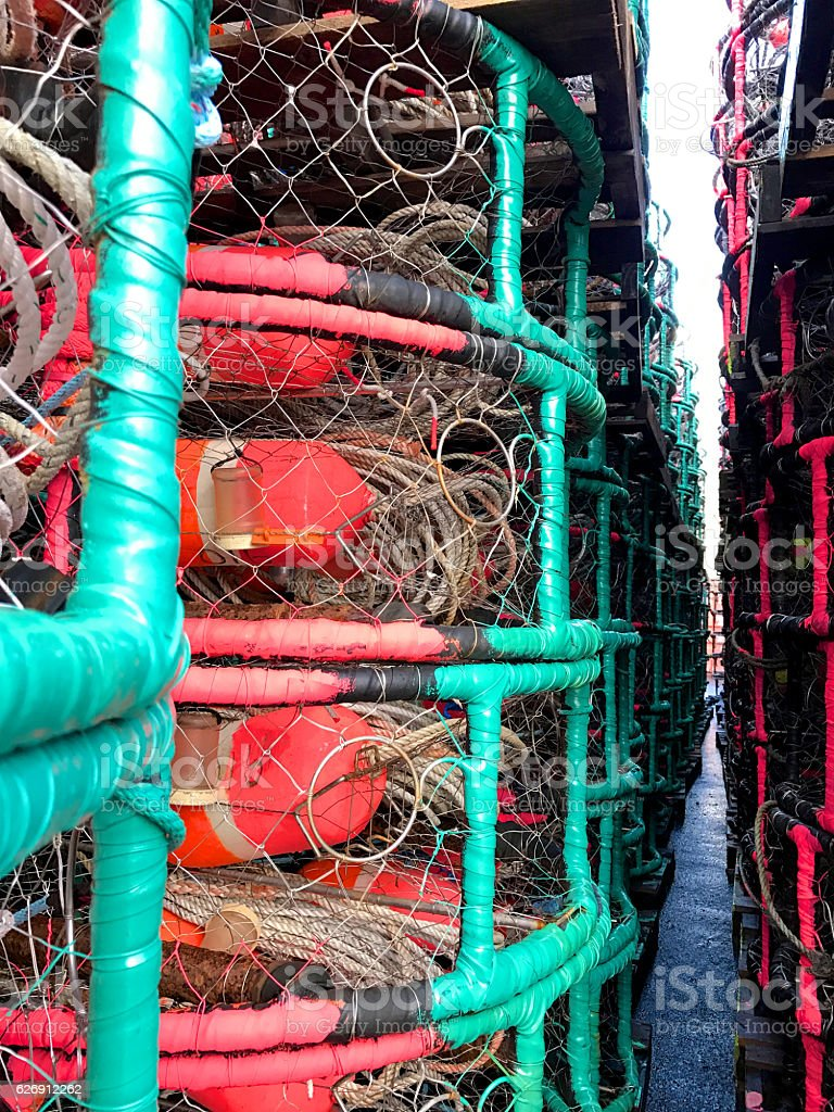 Rows of Crab Pots stock photo