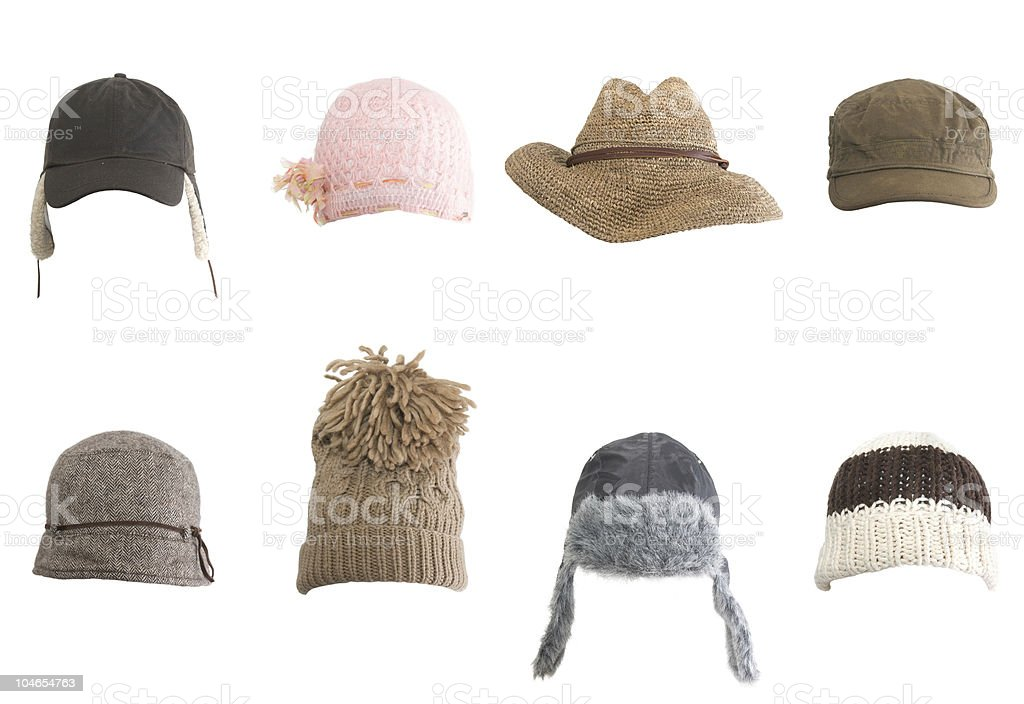 Rows of different kinds of hats against white background royalty-free stock photo