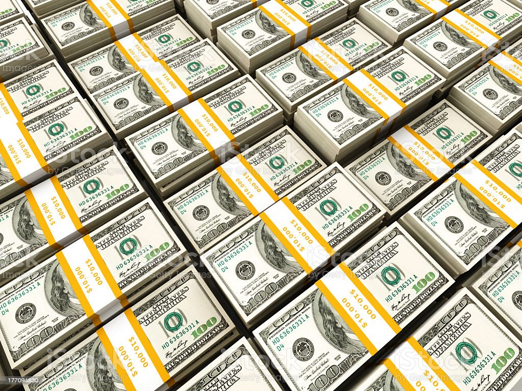Rows of dollars bundles background stock photo