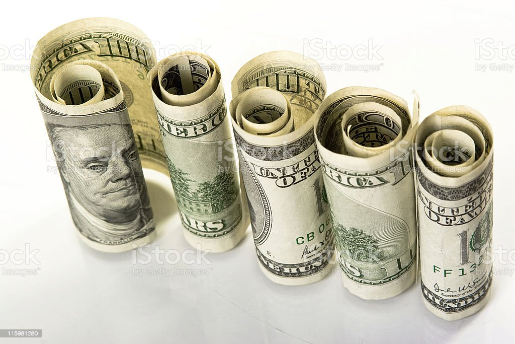 rows of dollar's rolls royalty-free stock photo
