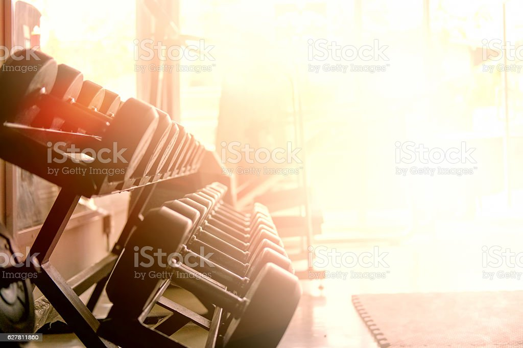 Rows of dumbbells in the gym stock photo