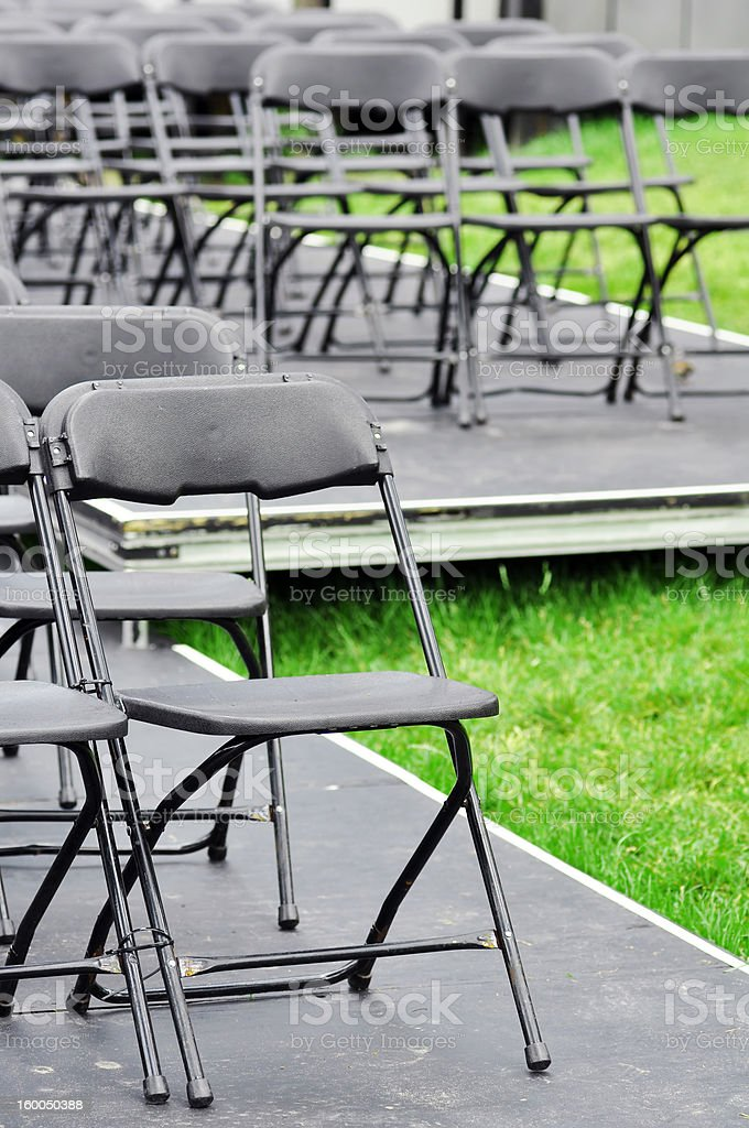 Rows of empty chairs outdoor royalty-free stock photo