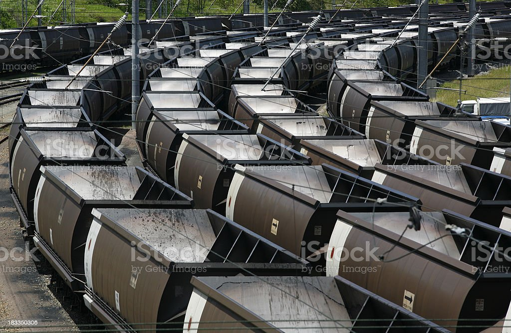 Rows of empty railway coal wagons stock photo