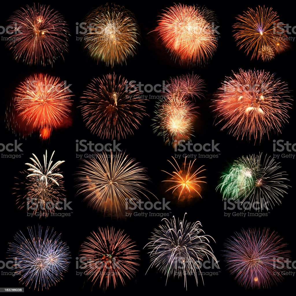 Rows of firework images on a black background stock photo