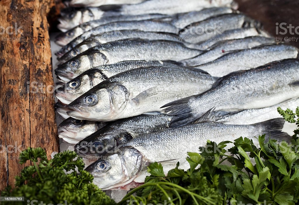 Rows of fish on a market stall stock photo