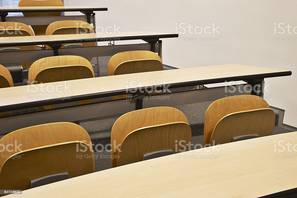 Rows of folding chairs and tables royalty-free stock photo