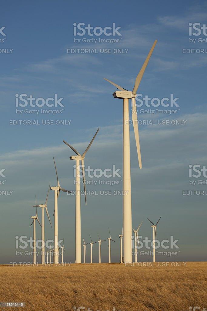 Rows of GE wind turbines southeast Colorado stock photo