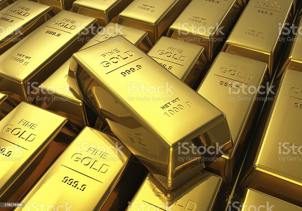 Rows of gold bars royalty-free stock photo