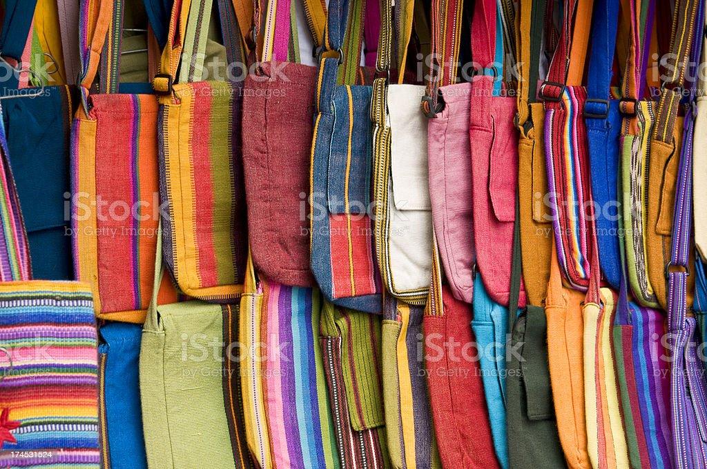 Rows of Guatemalan Purses at Market stock photo