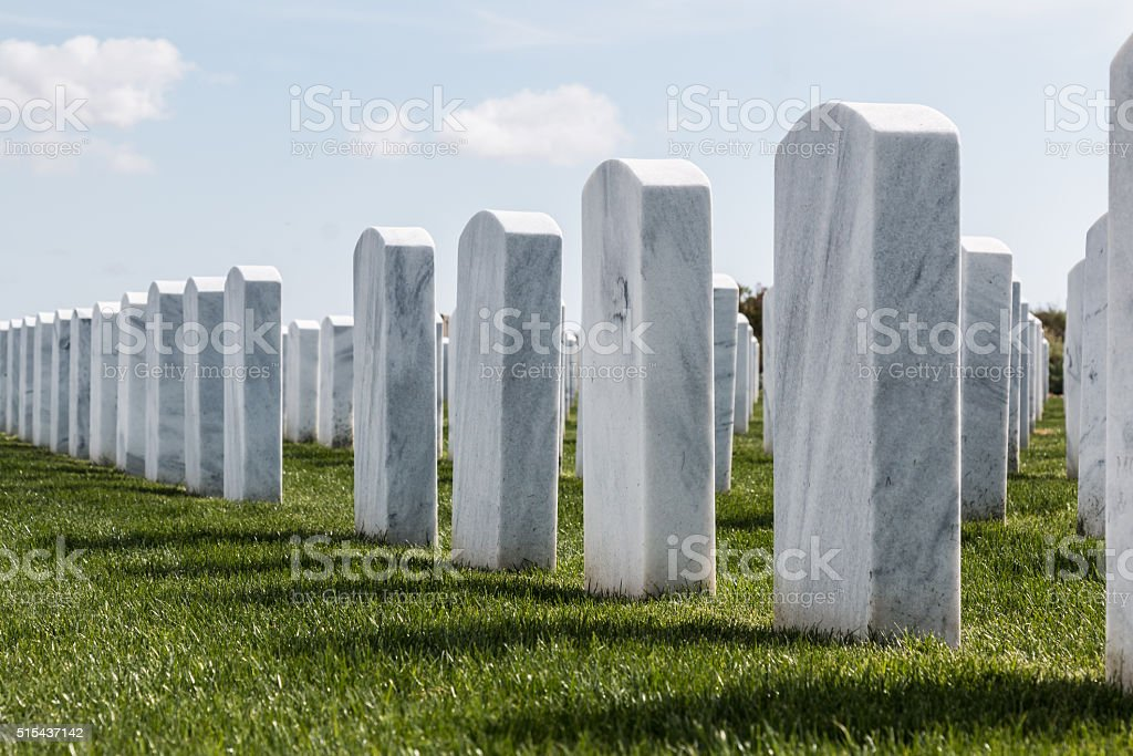 Rows of Headstones at Miramar National Cemetery stock photo