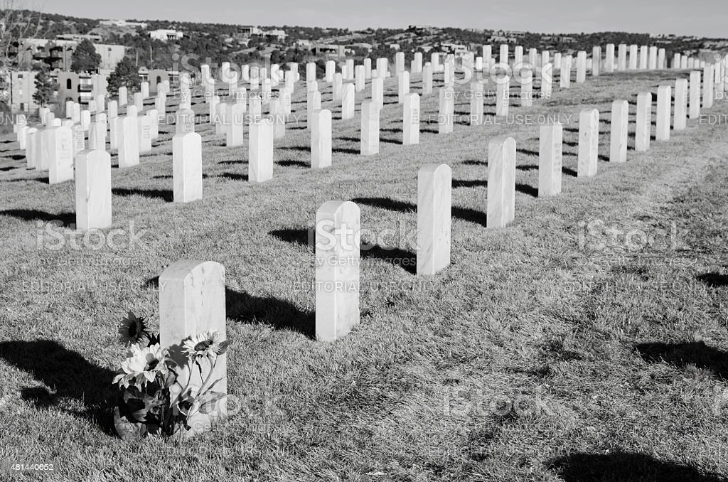 Rows of Headstones at National Cemetery in Santa Fe stock photo