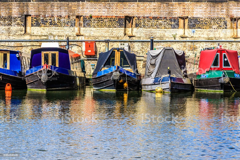 Rows of houseboats stock photo
