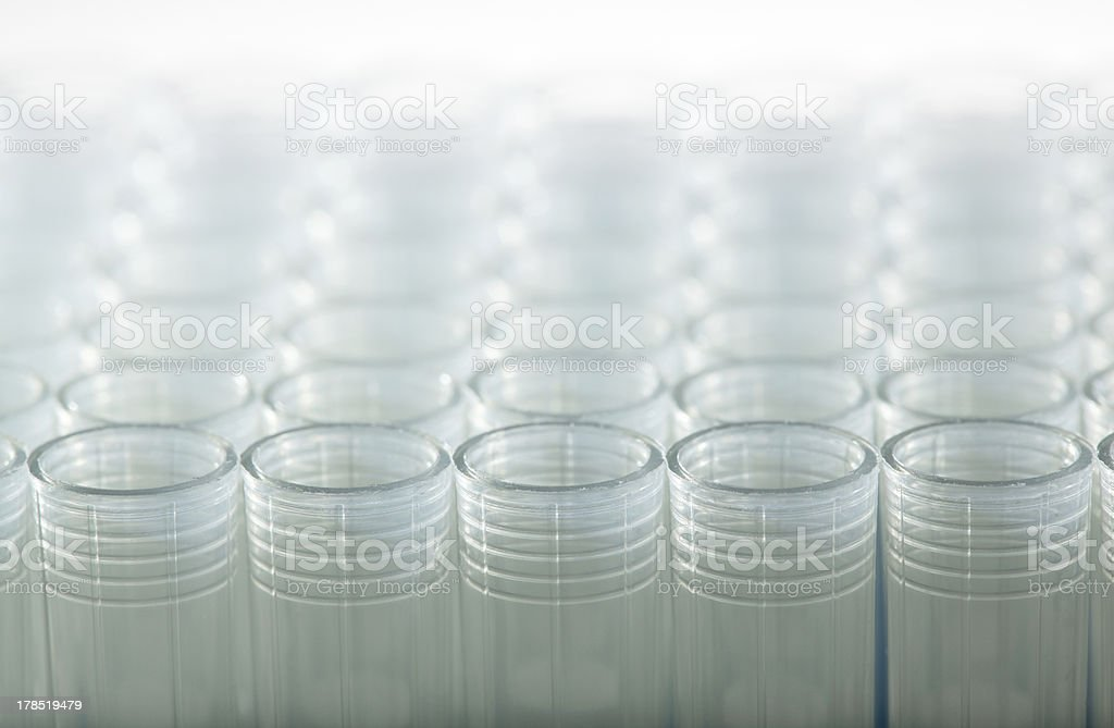 Rows of laboratory plastic tubes royalty-free stock photo