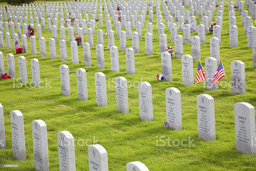 Rows of Military Graves at a United States National Cemetery stock photo