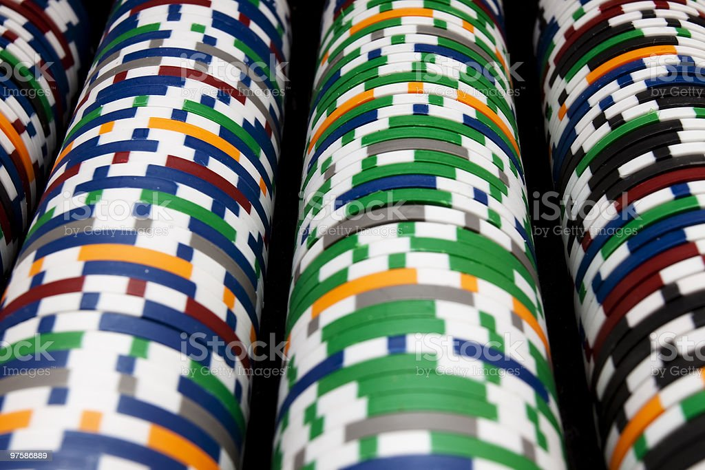 Rows Of Multi Colored Poker Chips XL royalty-free stock photo