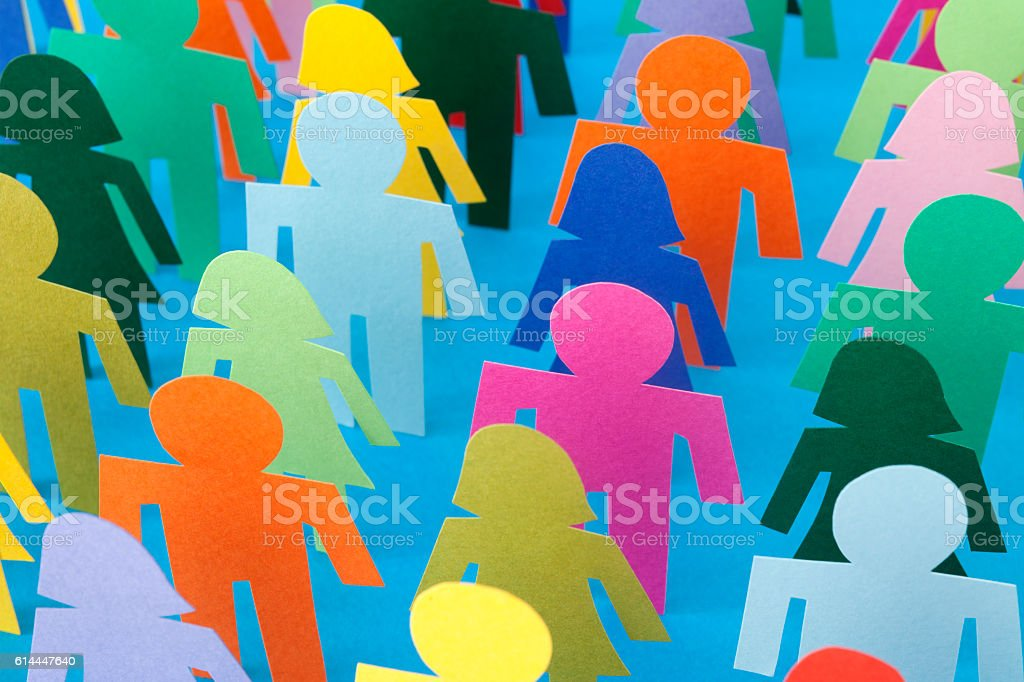 Rows of multicolored people stock photo