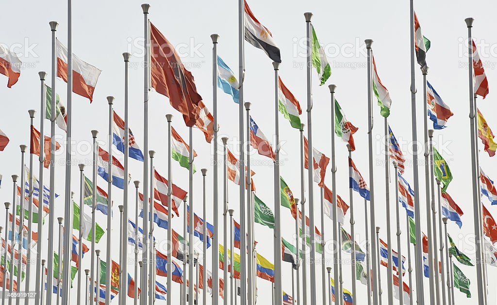 Rows of  national flags stock photo