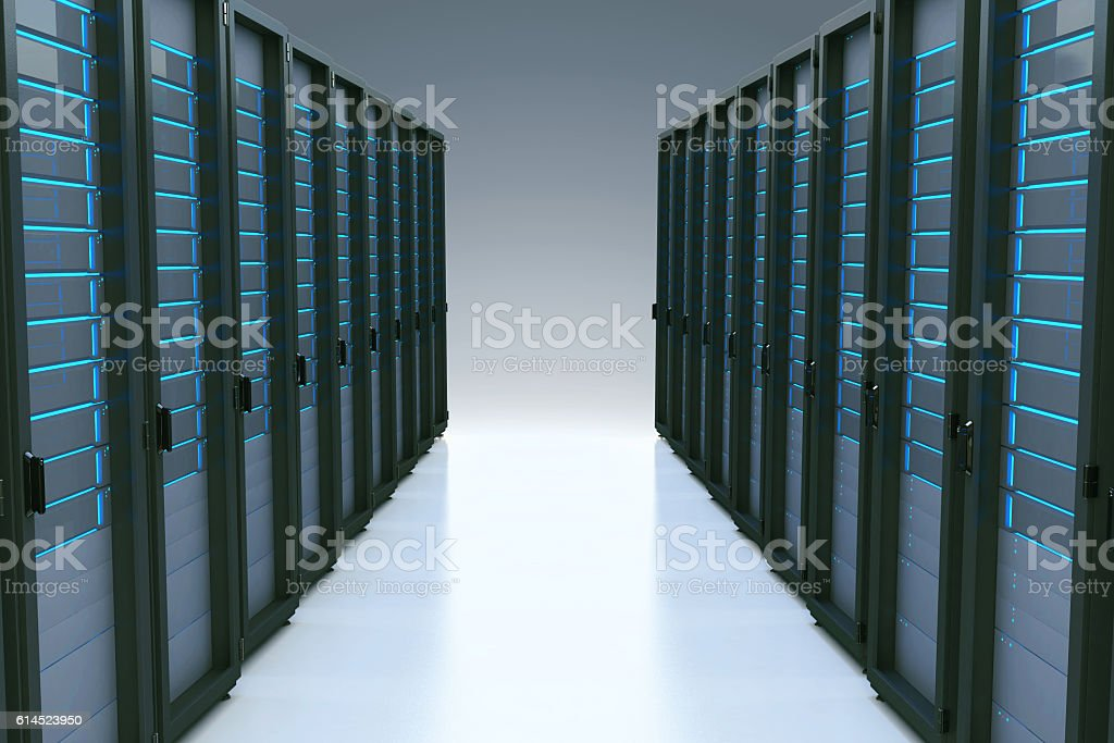 Rows of network servers in data center with reflection effect stock photo