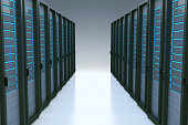Rows of network servers in data center with reflection effect