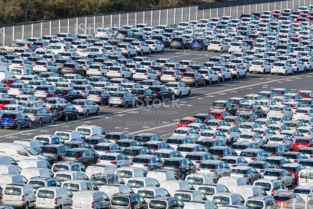 Rows of new cars - Reunion, France stock photo