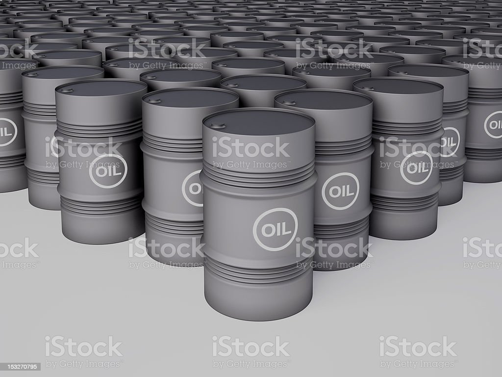 Rows of oil barrels royalty-free stock photo