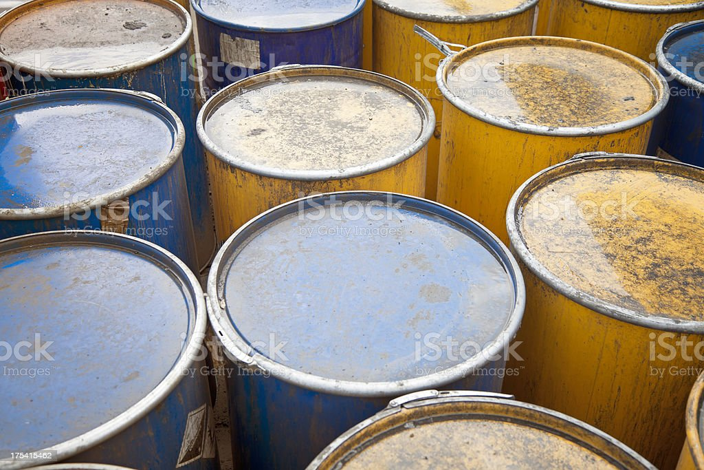 Rows of oil barrels stock photo