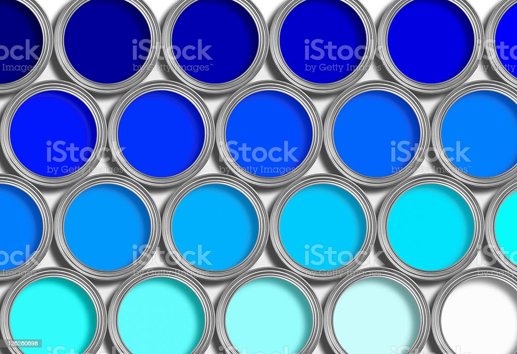 Rows of open blue paint tine on white background royalty-free stock photo