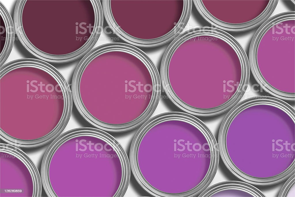 Rows of open purple paint tins on white background royalty-free stock photo