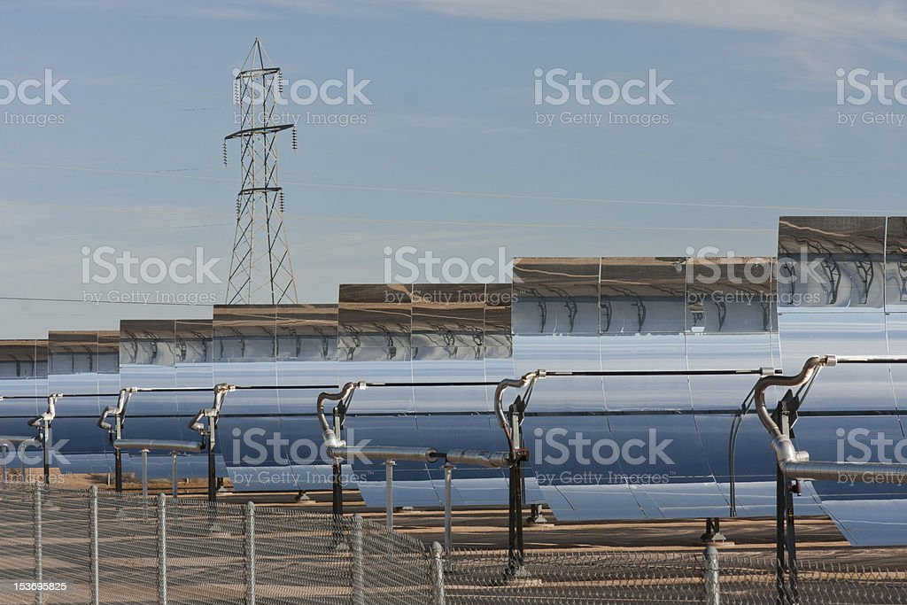 Rows of parabolic mirrors stock photo