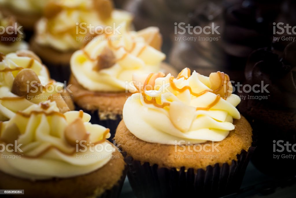 Rows of Pastel Colored Romantic Cupcakes stock photo