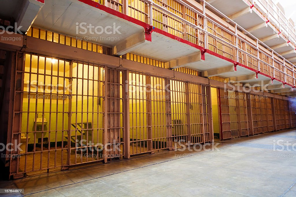 Rows of Prison Cells stock photo