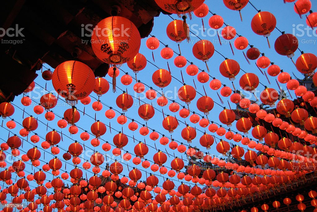Rows of red lantern on an outdoor street royalty-free stock photo