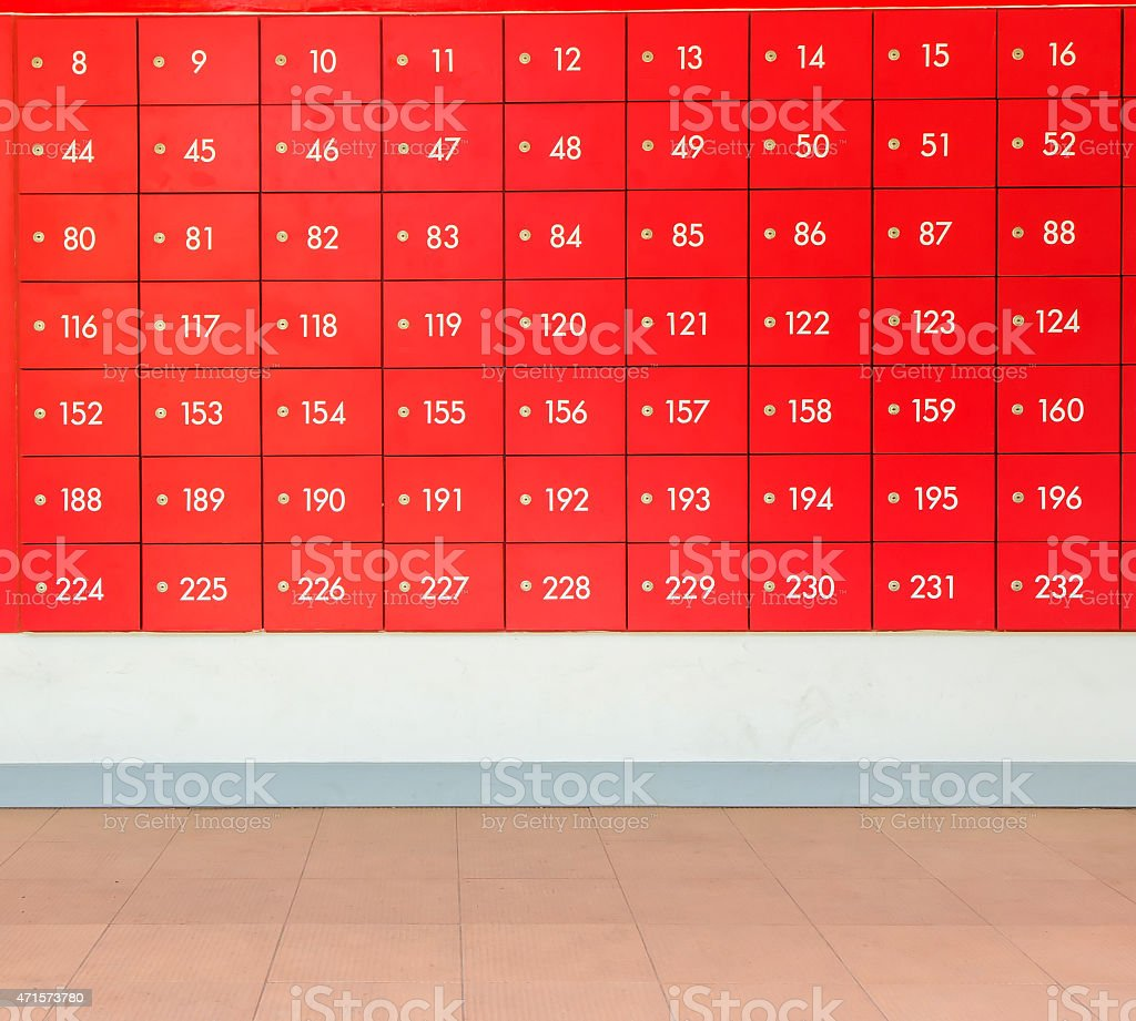 Rows of red  post office boxes. royalty-free stock photo