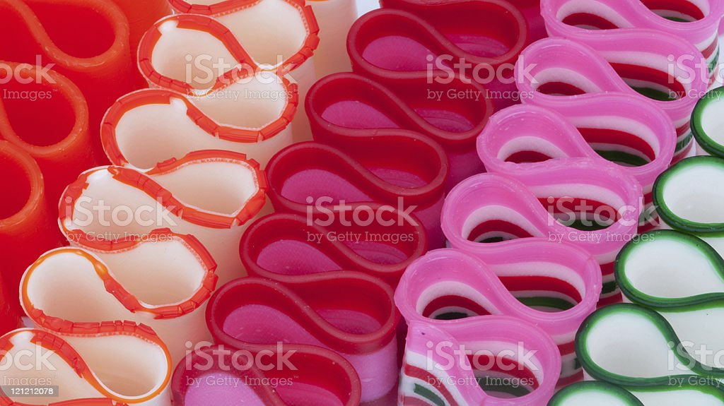 Rows of Ribbon Candy stock photo