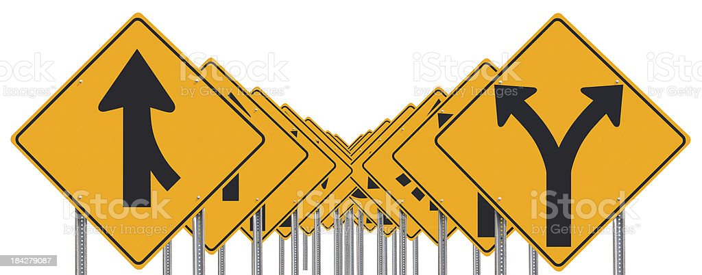 Rows Of Road Signs Isolated stock photo