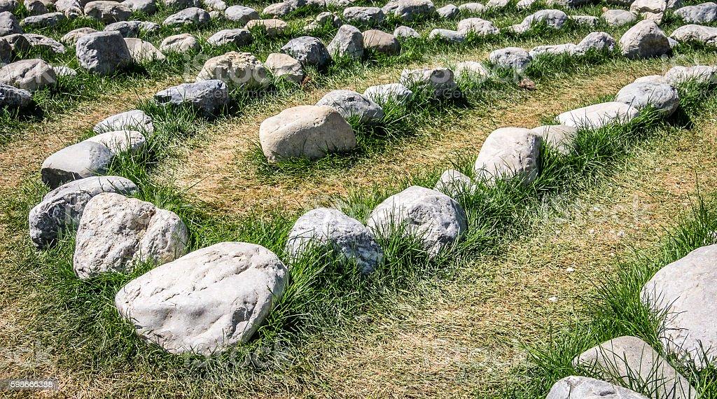 rows of rocks stock photo