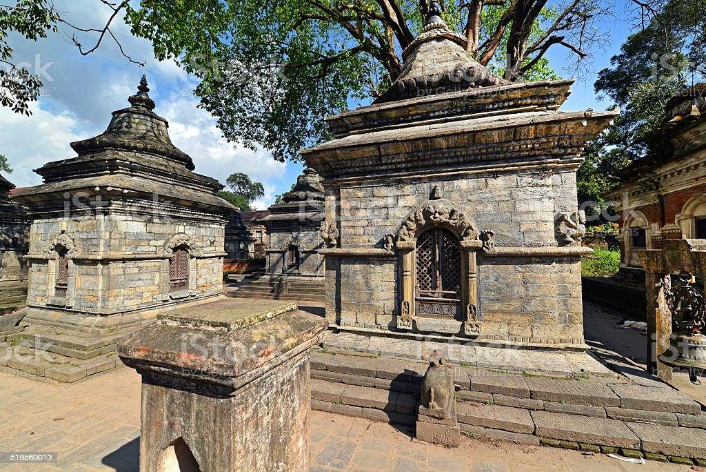Rows of sacred Hindu temples in Pashupatinath, Nepal stock photo
