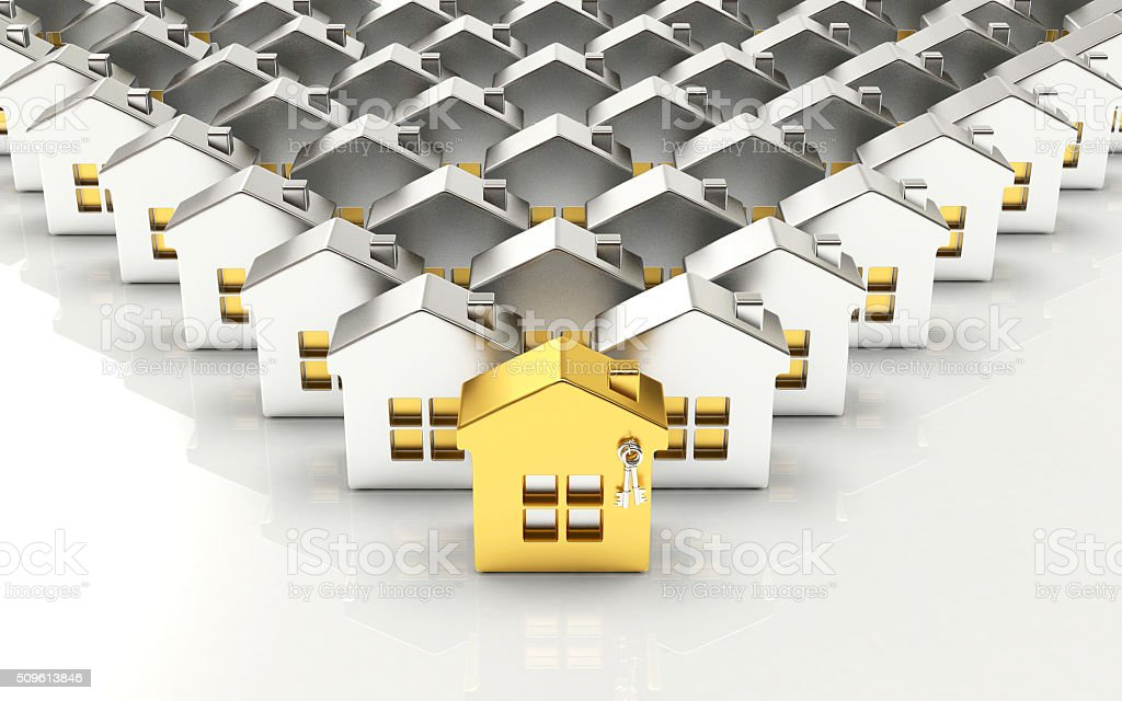 Rows of silver houses with one golden house stock photo