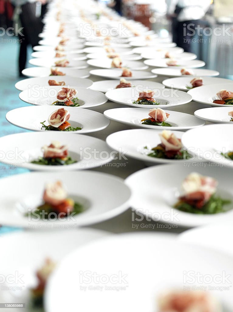 Rows of Starters for the Banquet stock photo