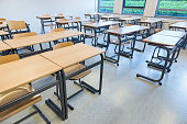 Rows of tables and chairs in classroom