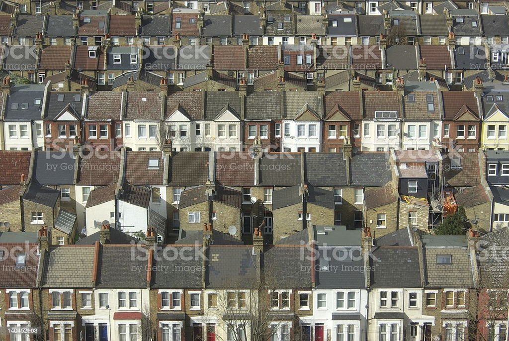 Rows of terraced houses close together royalty-free stock photo