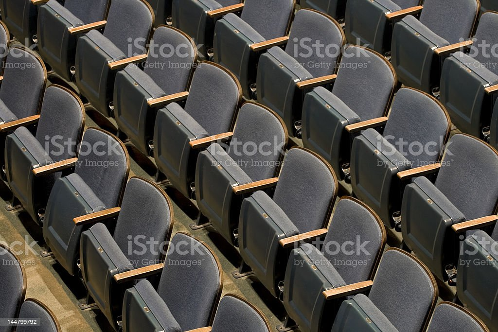 Rows of Theater Seats High Angle stock photo